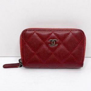 Authentic Chanel Caviar Quilted Zip Around Coin Purse/Card Holder
